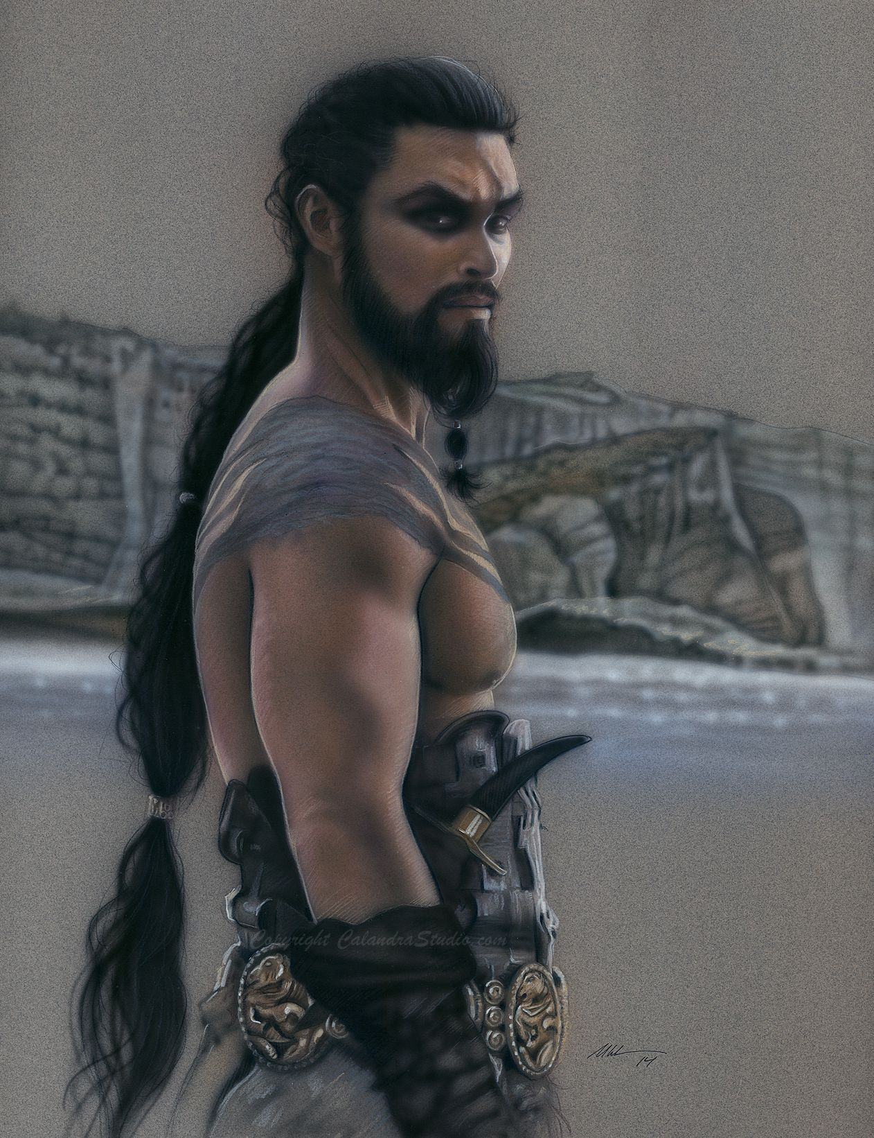 """""""Khal Drogo"""" Airbrush and colored pencil on paper"""