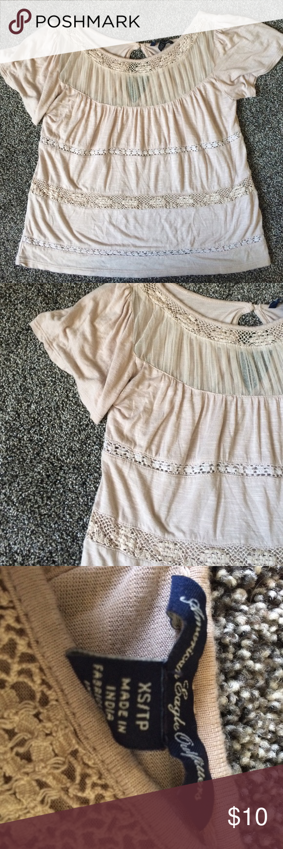 🍂 American Eagle Fall Top 🍂 Super cute lace fall top from American Eagle. No damage. Size XS. Cutout on the back (pic 4). Save with bundling! American Eagle Outfitters Tops