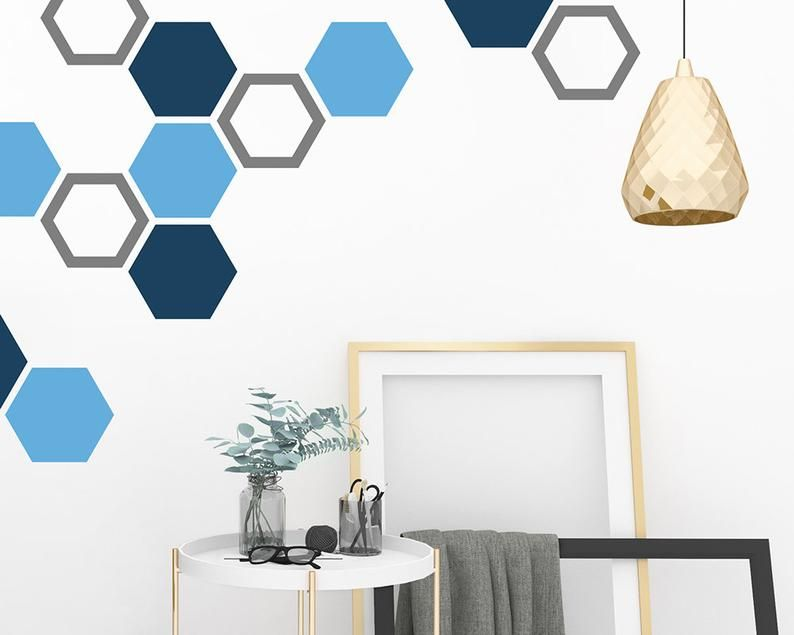 Honeycomb Wall Decals Hexagon Decals Geometric Wall Art Etsy Geometric Wall Art Geometric Wall Geometric Wall Paint