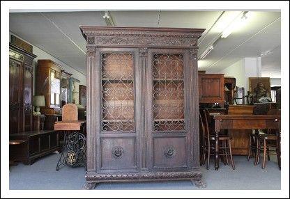 Credenza Con Vetrina Fine 800 : Antica vetrina libreria neorinascimentale per studio fine da