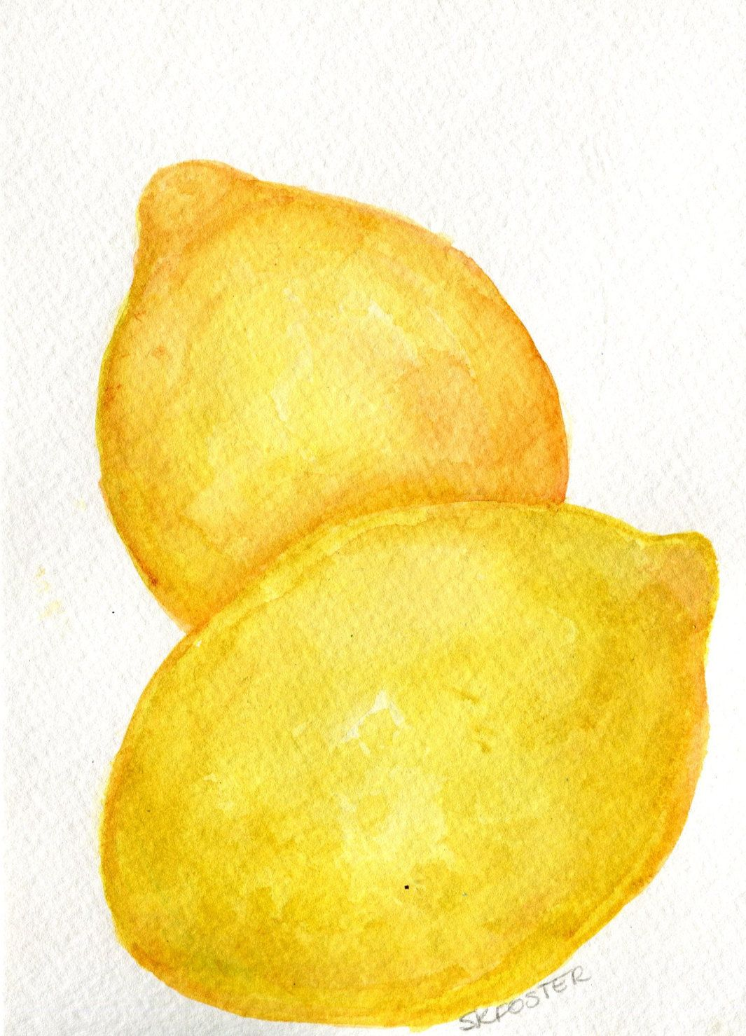 Lemons Watercolor Paintings Original, Small Fruit Painting, Modern ...