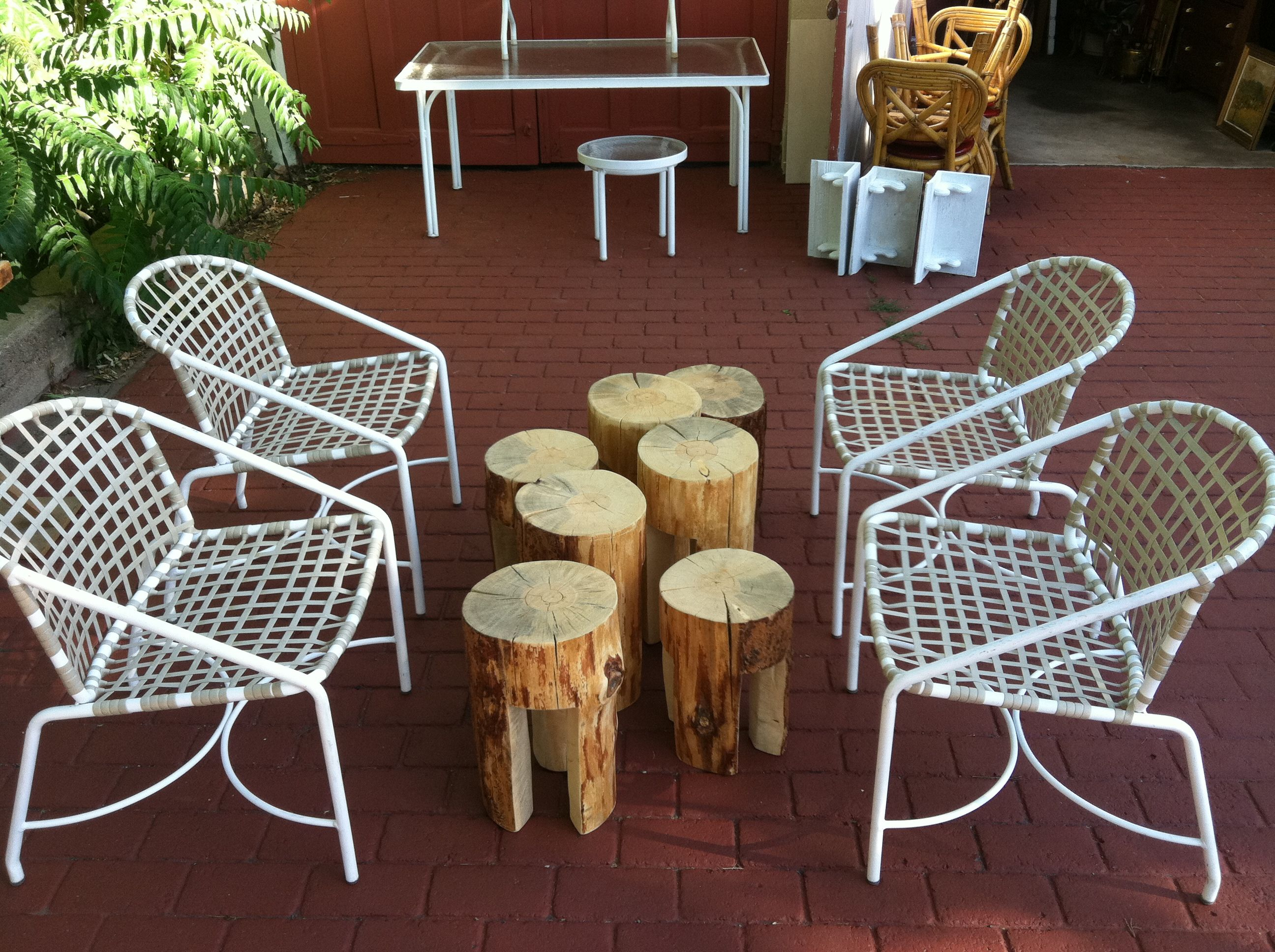 Stump Stools And Vintage Brown Jordan Chairs Habitat