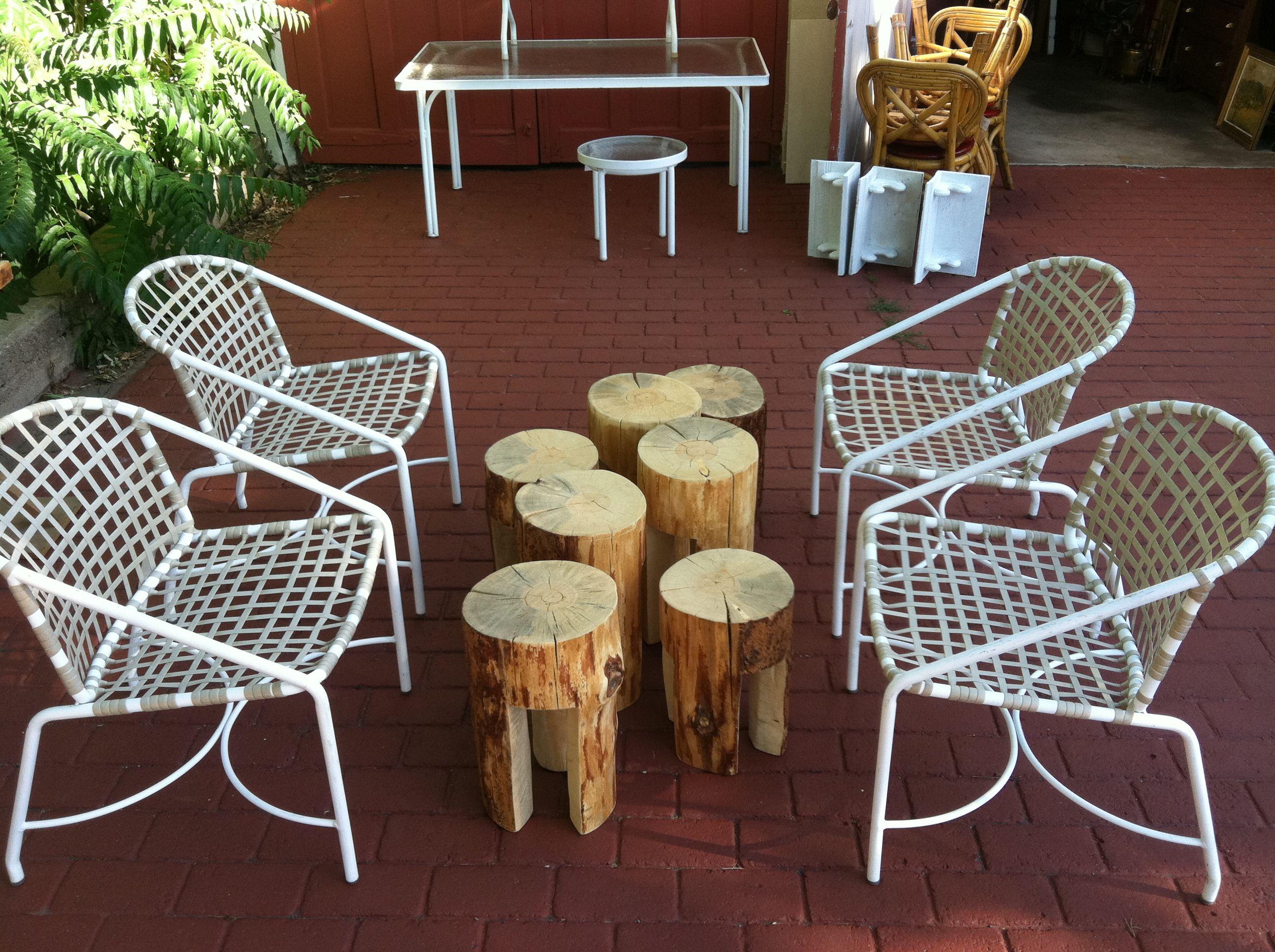 Stump Stools And Vintage Brown Jordan Chairs