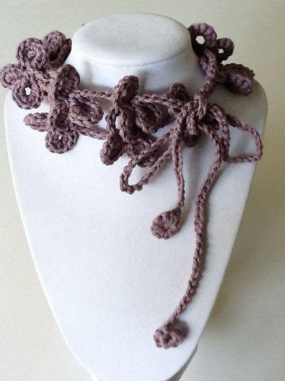 Flower Loop Handmade Crochet Necklace by joywelry2love on Etsy, $11.99