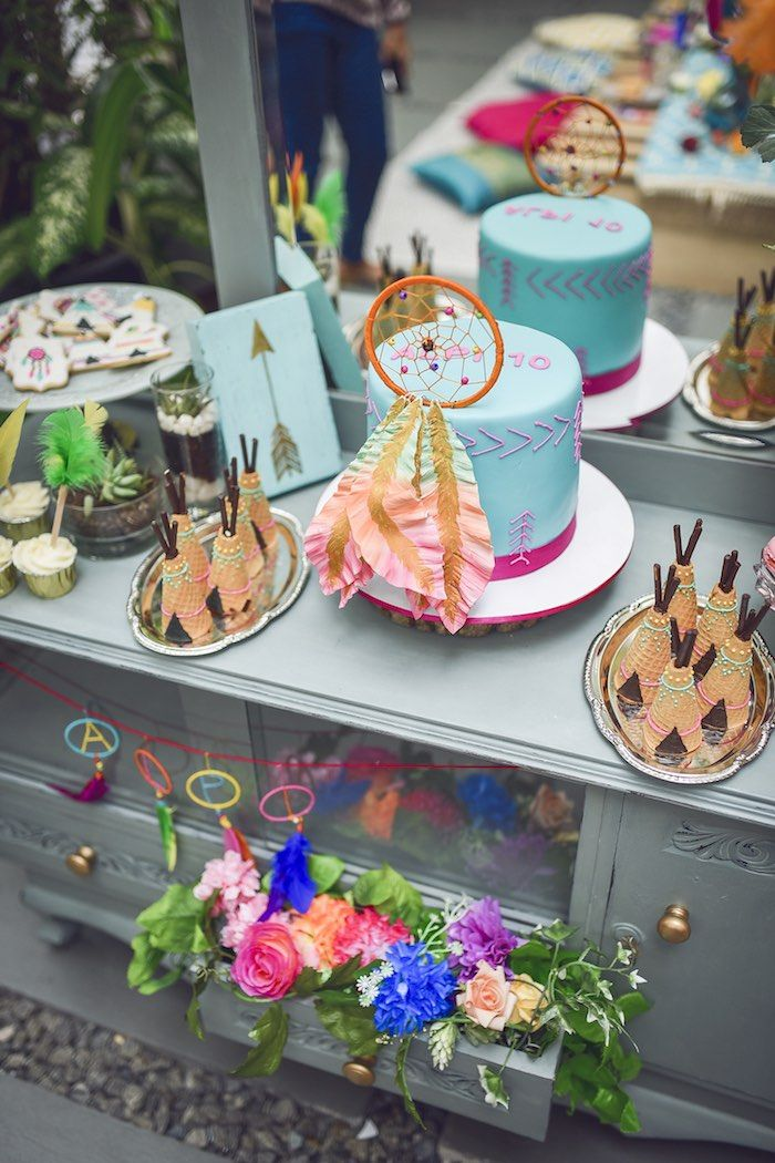 cake table from a boho tribal birthday party on karas party ideas karaspartyideascom