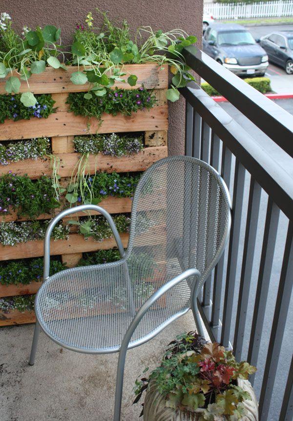 20+ Creative DIY Vertical Gardens For Your Home --> Vertical Pallet Garden on the Balcony