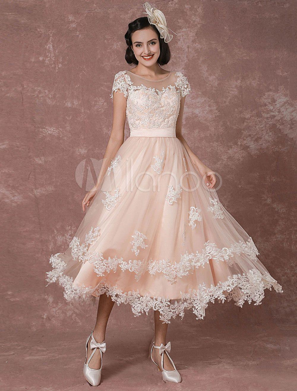 85e9357669e Wedding Dress Short Vintage Bridal Dress Backless Illusion Lace Applique Tea -length A-line Reception Bridal Gown Milanoo
