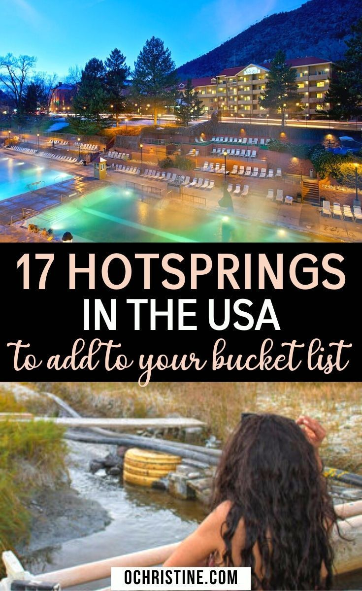 17 Hot Springs in the USA to add to your Bucket List. Hot springs offer bountiful health and wellness benefits, and are a favorite for adventurists and spa travelers alike. You can retreat to an amazing hot spring after a long day of hiking or hitting the slopes, or relax your muscles in these therapeutic baths for a much needed self-care session. Here are some of the best hot springs in the USA you should totally visit! Hot Springs USA | Natural Hot Springs in USA | Best Hot Springs in USA