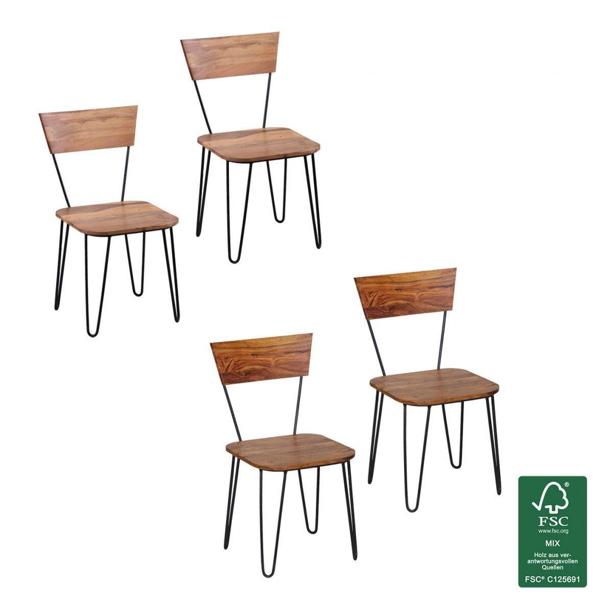 FineBuy Esszimmerstühle 2er Set Massiv-Holz Küchen-Stühle Doppelpack ...