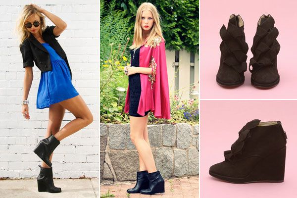 Ankle boots wedge heel black dress with fur