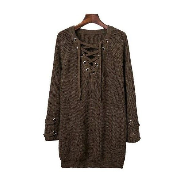 Eyelet Design Lace Up Long Sleeve Sweater Dress ($34