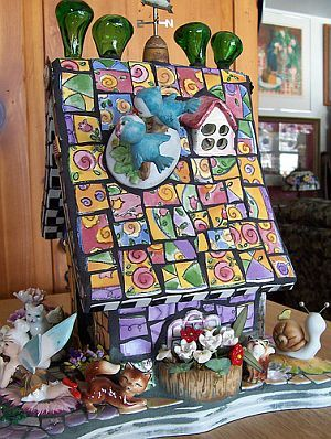 Mosaic bird house other side view
