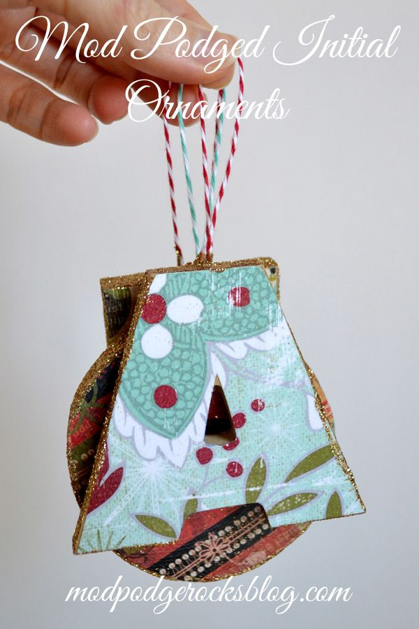 Personalized Mod Podged initial ornaments