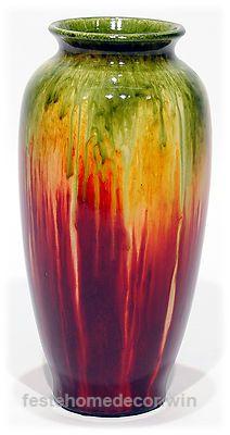Red Orange Green Drip Glazed Ceramic Vase Home Decor Accent 10″ NEW G1900