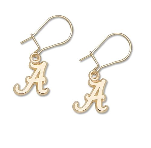 Alabama Crimson Tide 10K Gold Dangle Earrings by LogoArt $177.95 http://www.myteambling.com/alabama-crimson-tide-10k-gold-dangle-earrings.html #alabamacrimsontide #alabamacrimsontideearrings
