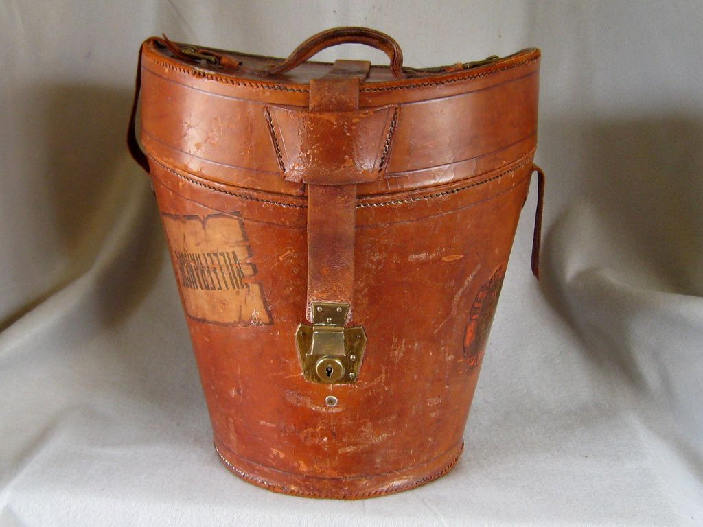 Antique Leather Top Hat Box C1890 Tall Bucket Style Holds Three Hats Leather Leather Top Hat Leather Hats