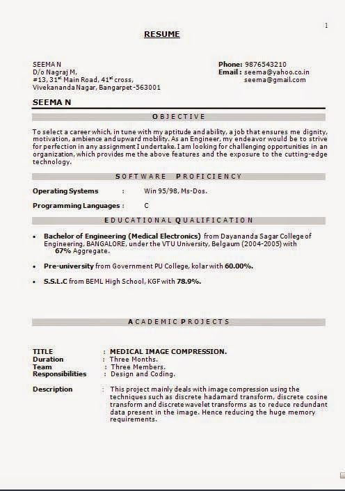 formato de curriculo Sample Template Example of ExcellentCV / Resume - Simple Format For Resume