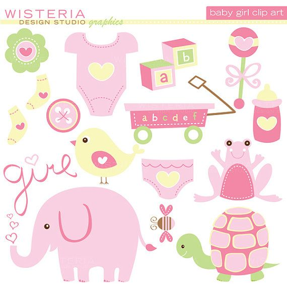 Baby Girl Elements - INSTANT DOWNLOAD - Clip Art for Personal ...