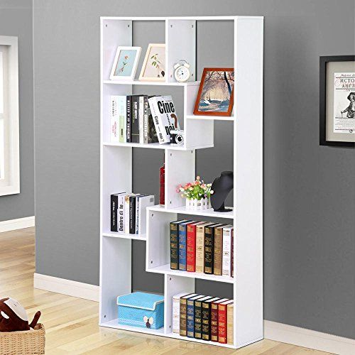 Go2buy 8 Compartment White Bookcase Asymmetrical Cube Bookshelf