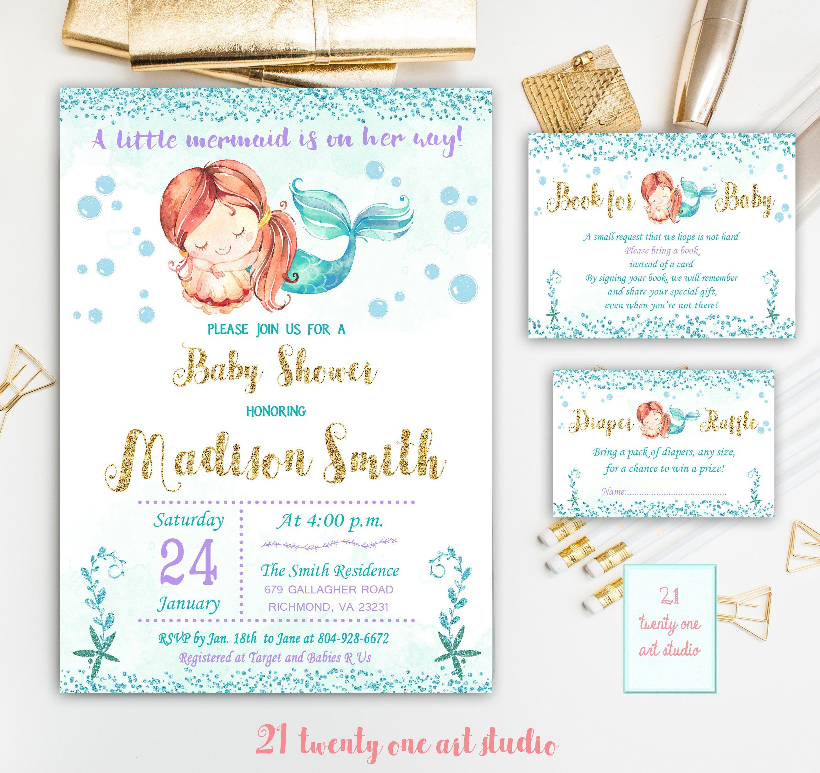 Mermaid Baby Shower Invitation Book For Baby Diaper Raffle
