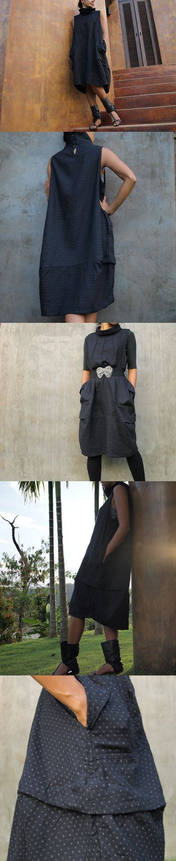 Turtle Neck Dress / Sleeveless Dress (1403) Brown Dot printed thick cotton (one size)