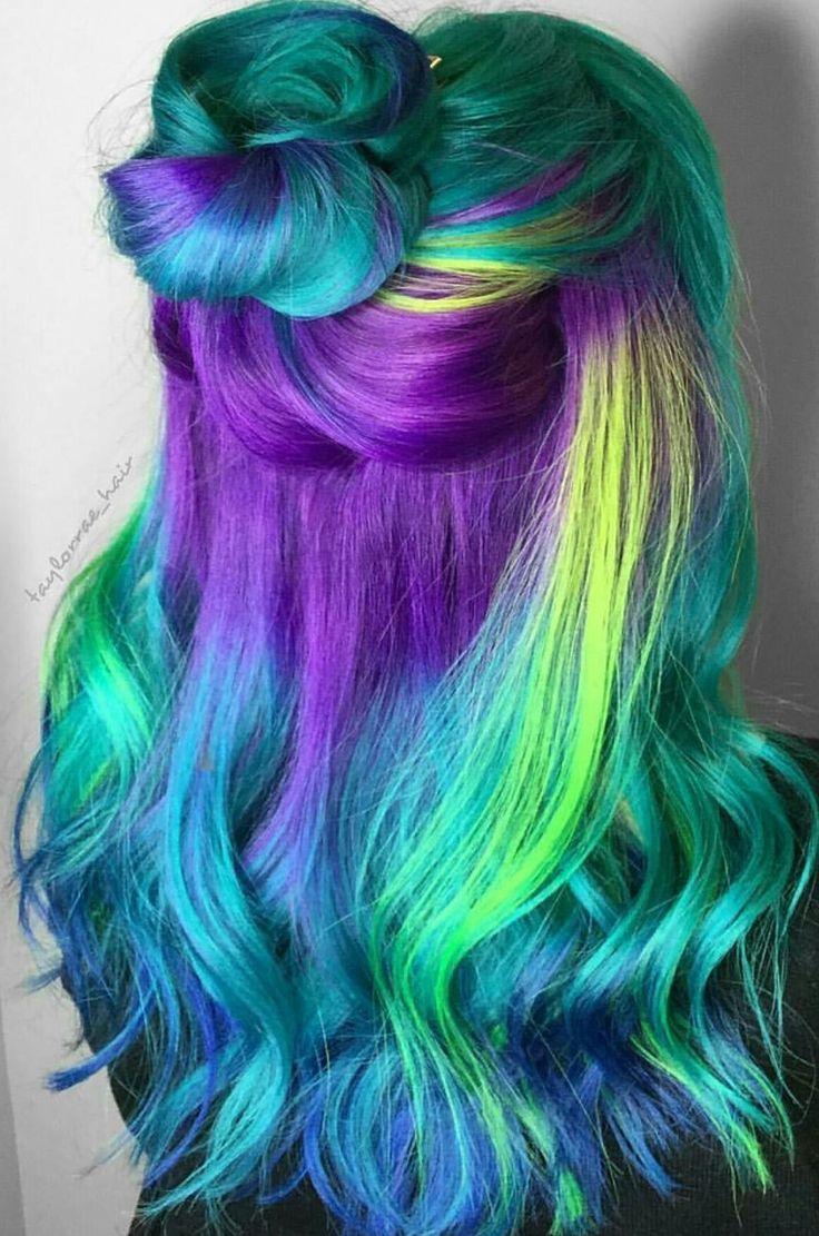 Green purple dyed hair medium hairstyle pinterest latest