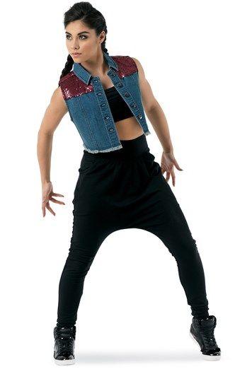 Sequin Shoulder Denim Vest Balera Dance Outfits Dancers Outfit Hip Hop Costumes