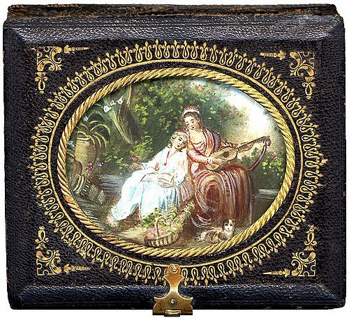 rare leather-bound daguerreotype case w/ detailing, maker unknown