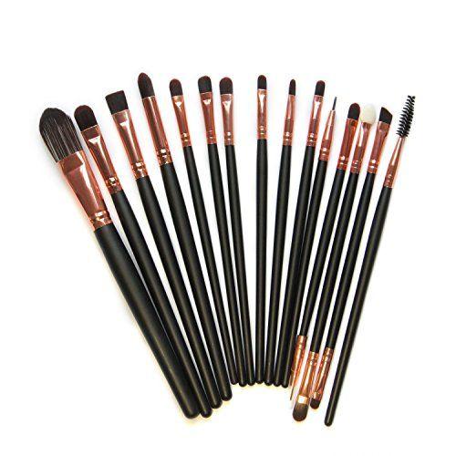 Kolight 15pcs Cosmetic Makeup Brushes Set Powder Foundation Eyeshadow Eyeliner Lip Brushes for Beautiful Female (Black+Gold Rose)