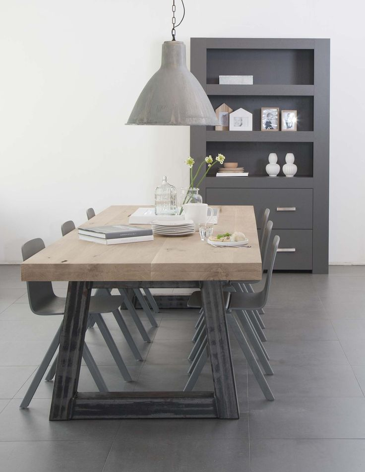 Houten tafel stalen onderstel home pinterest eettafel eetkamer en huiskamer - Eettafel en houten eetkamer ...
