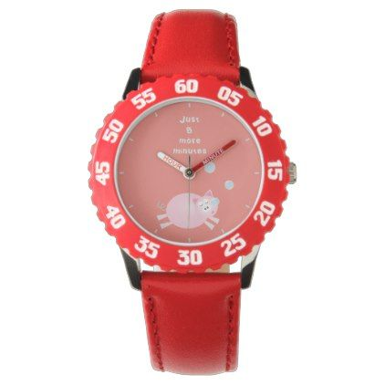 Funny Just Five More Minutes Dream Big Sleepy Pig Wristwatch ...