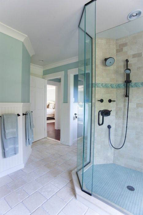 Coastal Home Seaside Home Glass Shower Enclosure