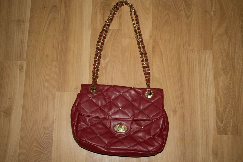 Bueno Purse Handbag Red With Gold Accents Fashion Clothing