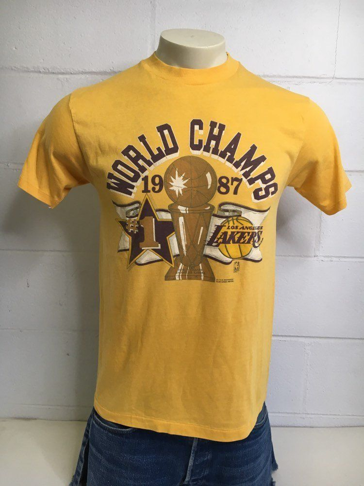 brand new 59814 965a6 Vintag LAKERS Shirt 1987 80's LA Los Angeles World Champions ...
