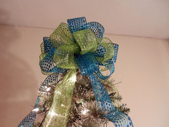 Modern Colors Large Christmas Tree topper bow by creativelycarole
