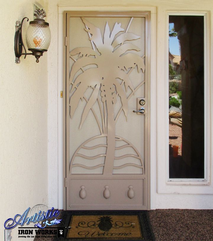 Palm Tree Wrought Iron Security Door with plasma cut ...