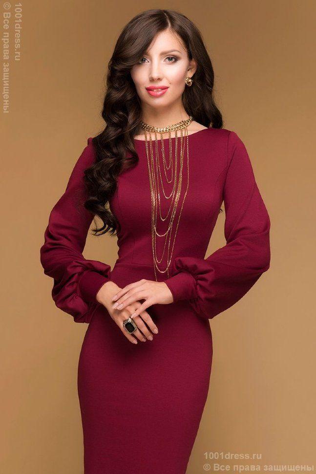 e3904d21700 Платье бордовое длины миди с вырезом на спинке и длинными рукавами 1 ...