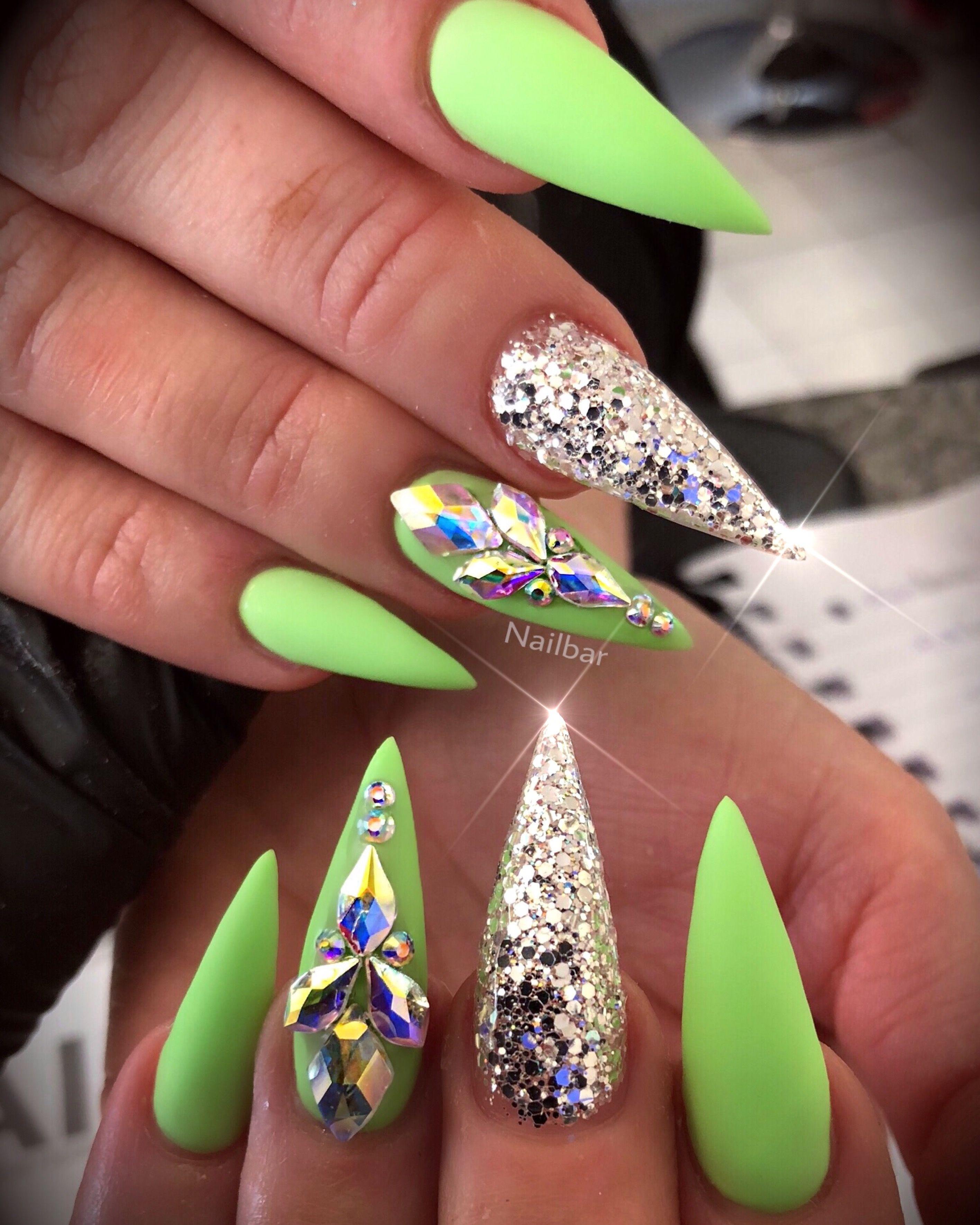 Lime Green Holographic Glitter Rhinestones Neon Nails Neon