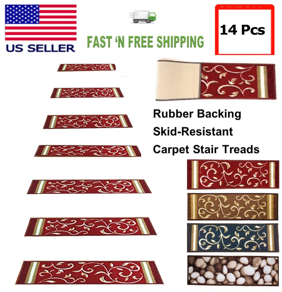 Best Details About Set Of 14 Carpet Stair Treads Washable 640 x 480