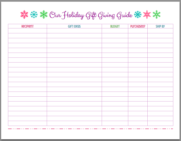 Free Printable Christmas Holiday Gift Giving Guide Mom 4 Real Free Christmas Printables Holiday Christmas Gifts Christmas List Template