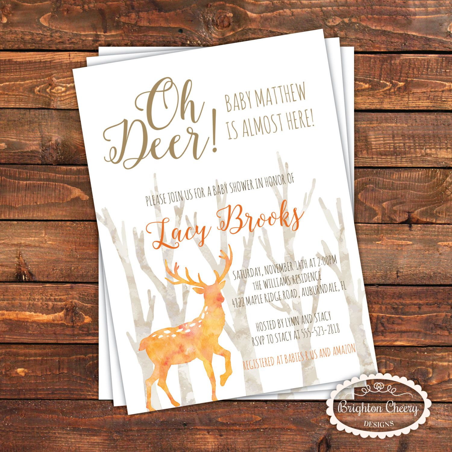 Rustic Deer Baby Shower Invitation, Fall Forest Invite, White, Blue ...