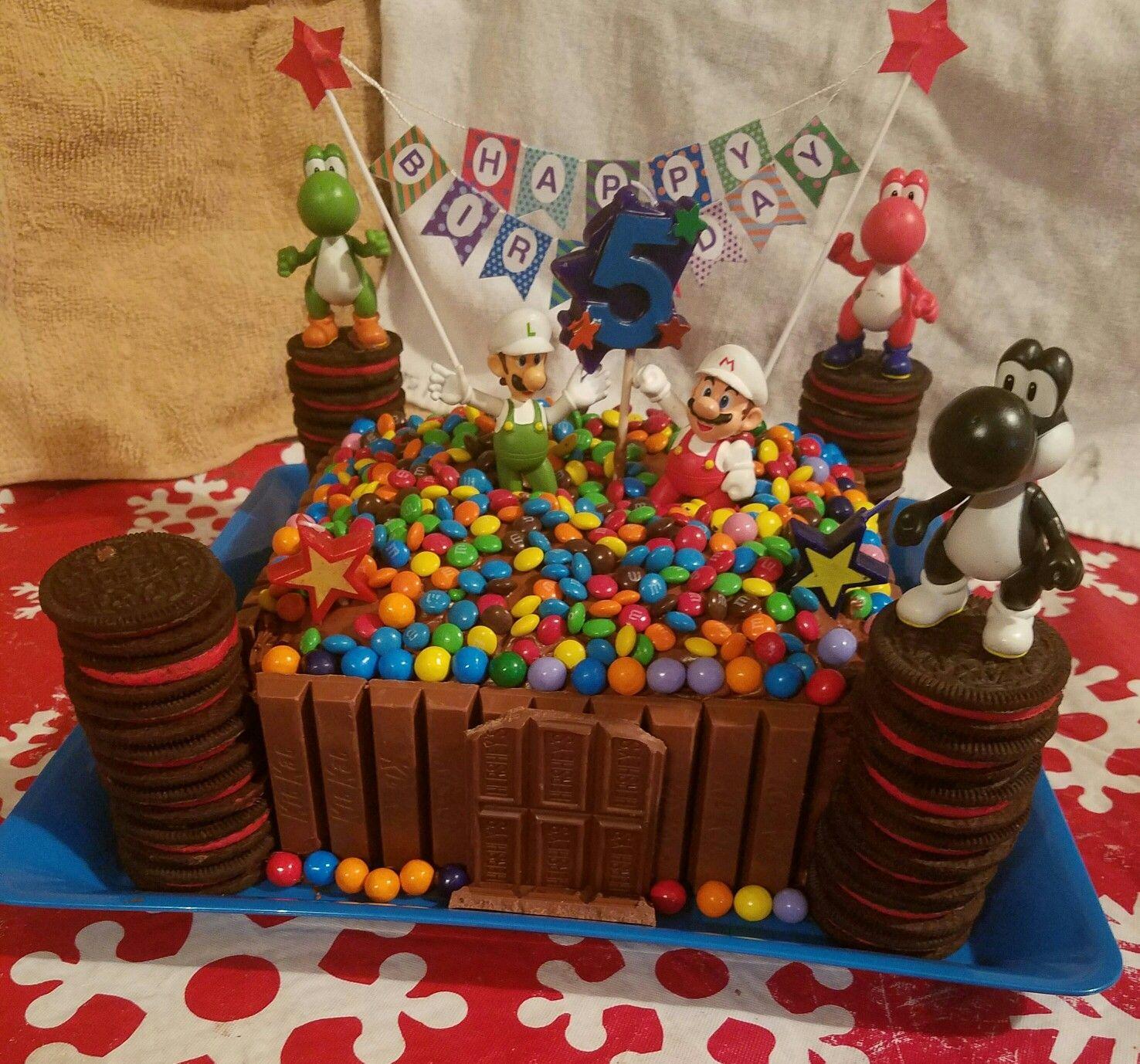Mario, Luigi and Yoshi Kit Kat, Oreo and M&M cake | Mario ...