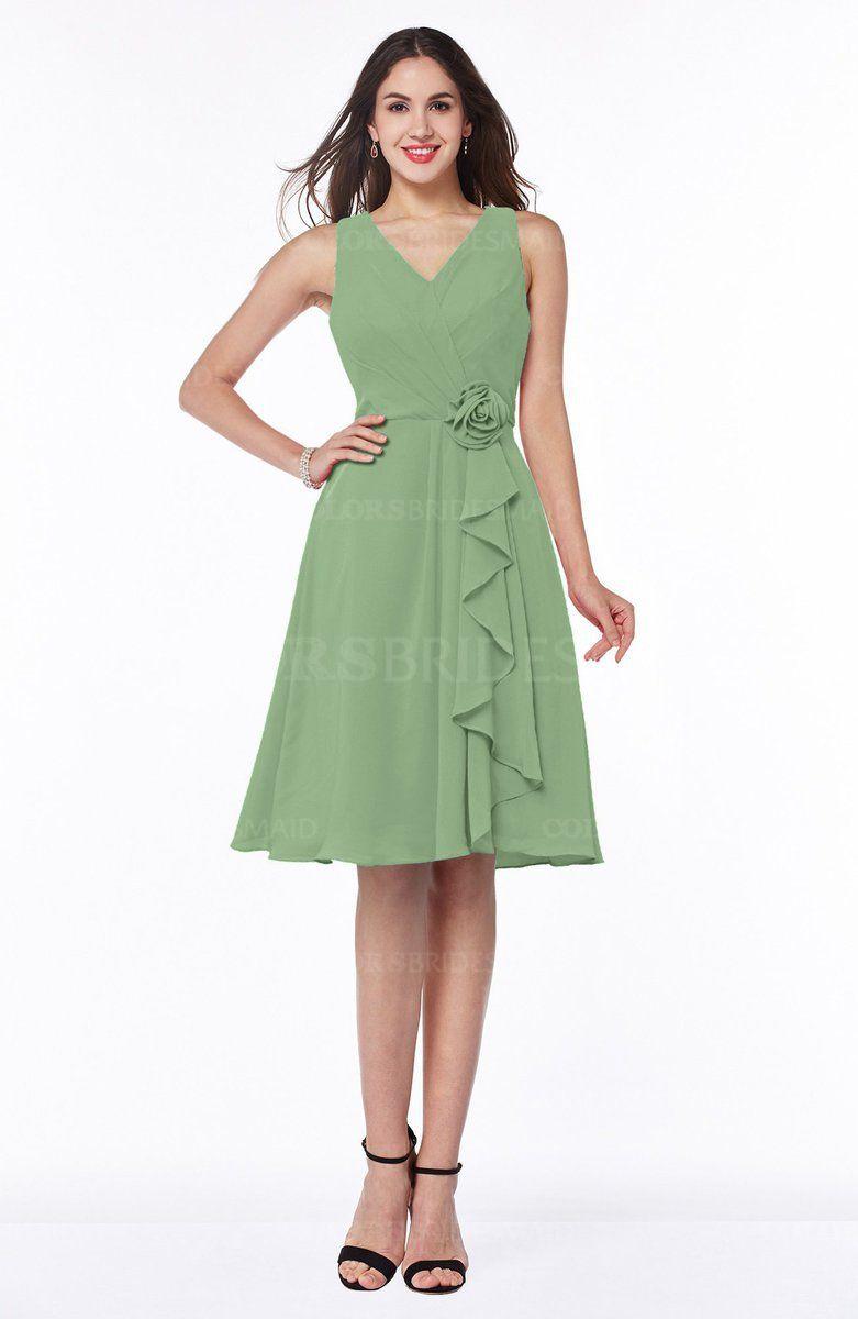 Green dress v neck  Sage Green Sexy Vneck Sleeveless Chiffon Knee Length Plus Size