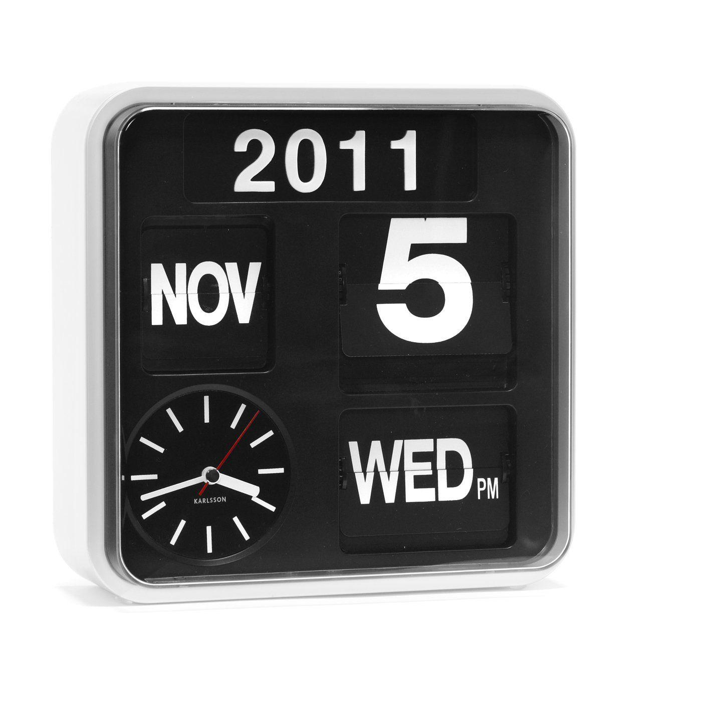 Karlsson Mini Flip - Reloj de pared, marco de color blanco y fondo ...