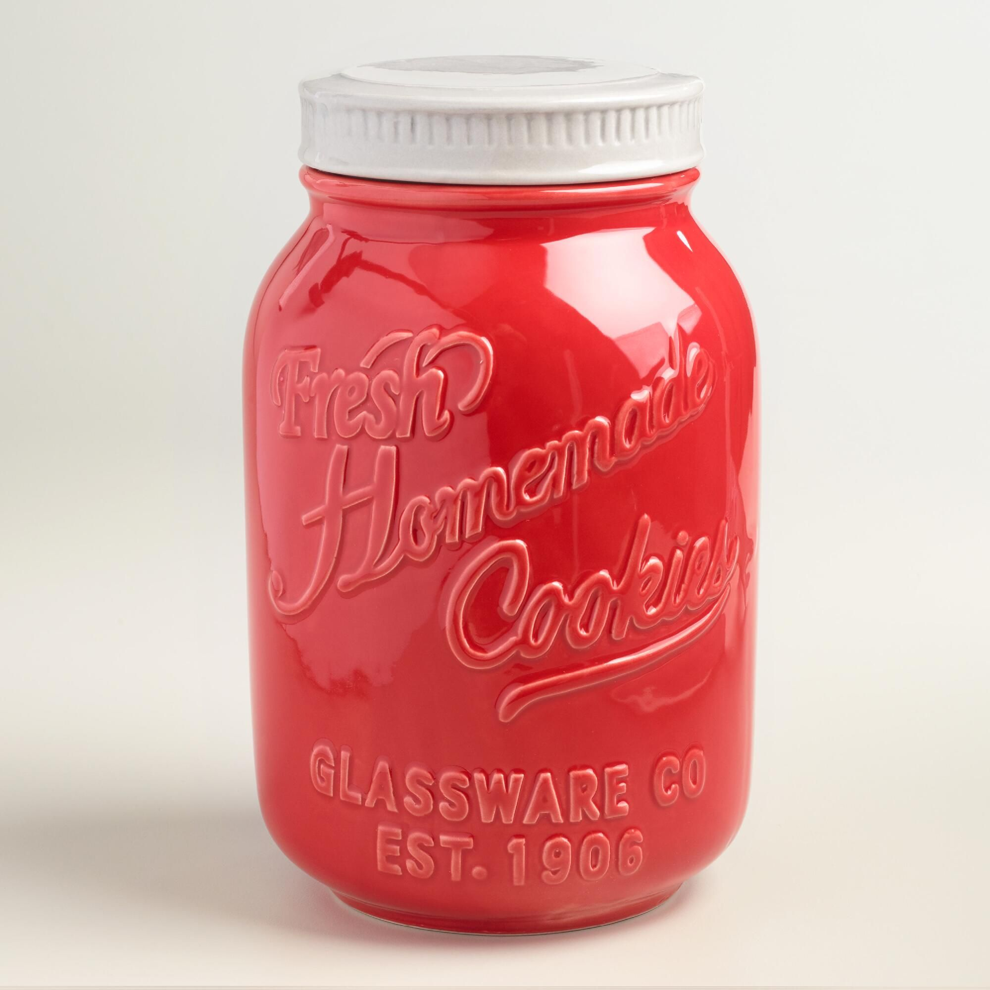 Red Ceramic Mason Cookie Jar