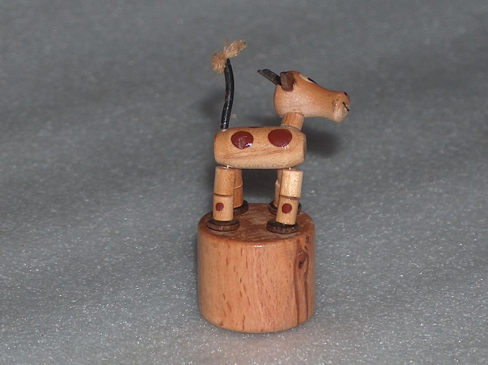 VINTAGE CUTE WOODEN PUSH BUTTON PUPPET TOY COLLAPSING - GOAT?