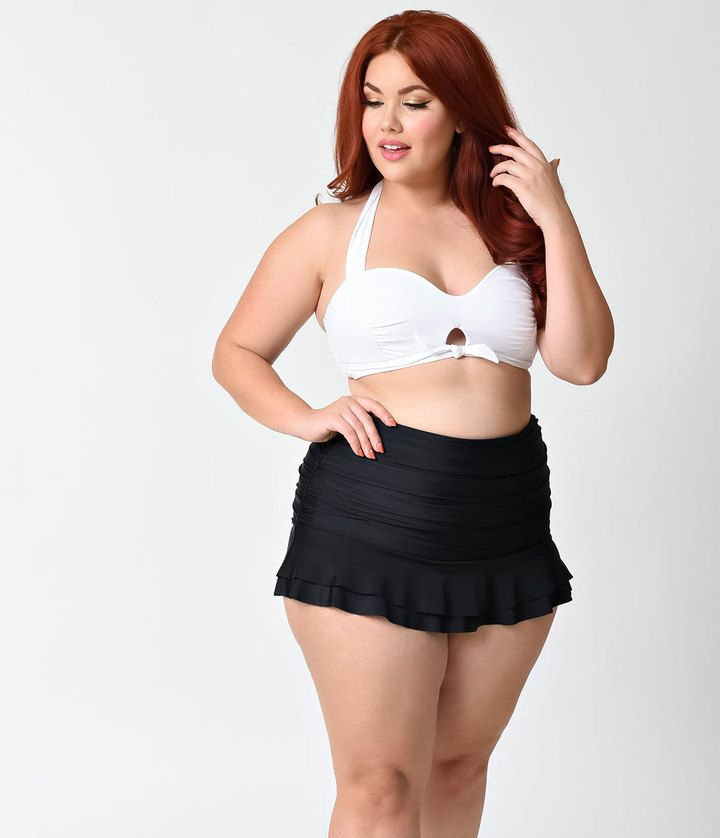 196041eebe1 Unique Vintage Plus Size Mrs. West White Halter Bikini Swim Top ...