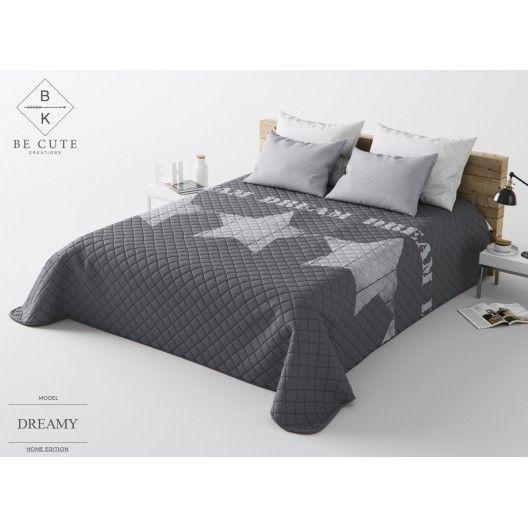 546f2fde1432 Francúzsky tmavo sivý prehoz na posteľ s hviezdami