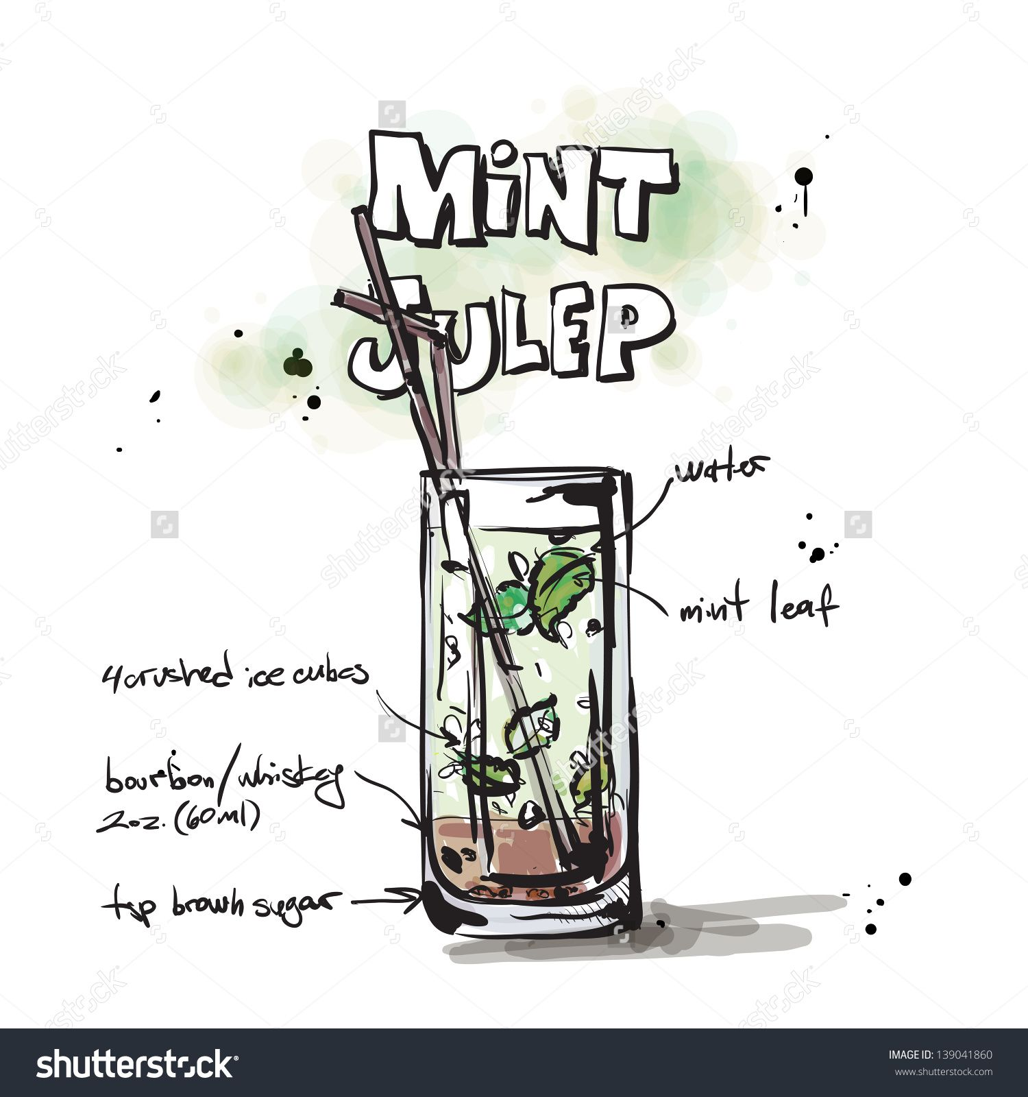 Hand Drawn Illustration Of Cocktail. Vector Collection. - 139041860 : Shutterstock
