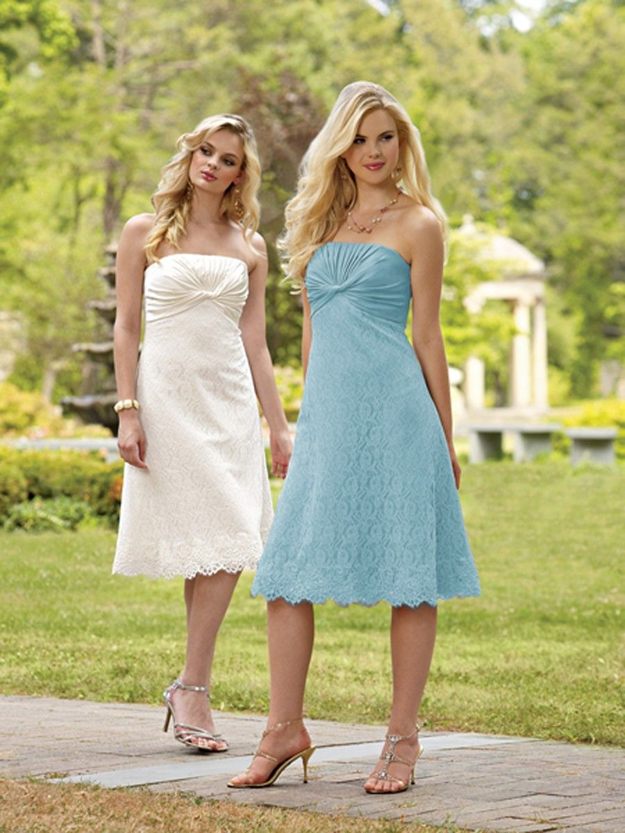 pool lace knee length bridesmaid dress | wedding | Pinterest | Lace ...